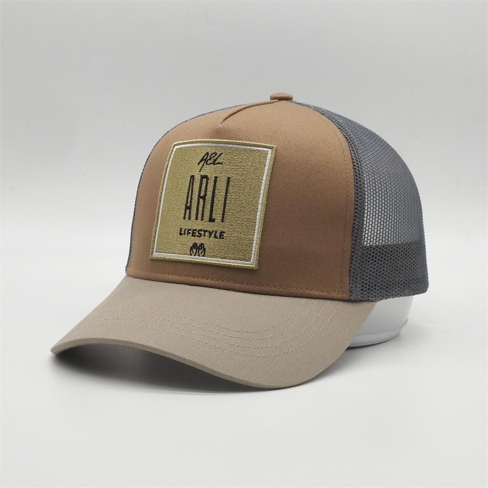 Fencun Custom 5 Panel Yüksek Kaliteli Nakış Yama Trucker Hat Cap 3 Ton Renk Pamuk kabartılmış Yetişkin Trucker Yaz Spor Hat Caps