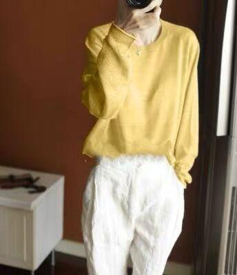 mOV0D superiore rotonda del collo maglione top a manica lunga stile pigro allentato dimagrante leggermente trasparente temperamento inizio autunno sexy maglione con scollo a V per