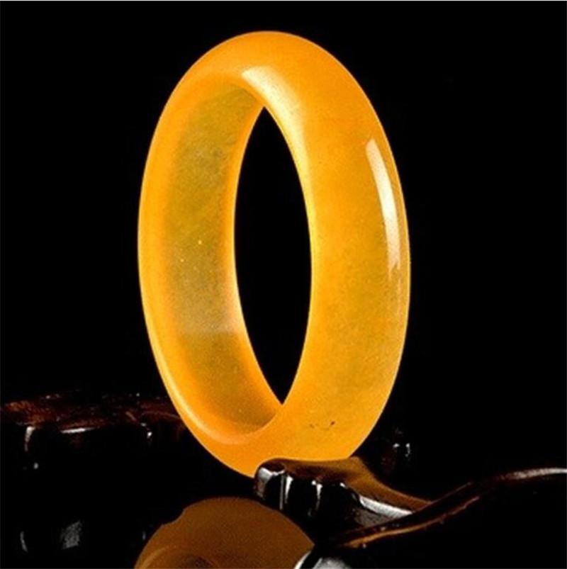 Genuine giallo giada naturale braccialetto braccialetto di fascino di gioielli Accessori di moda di intagliate a mano fortunato Amulet regali per le donne i suoi uomini