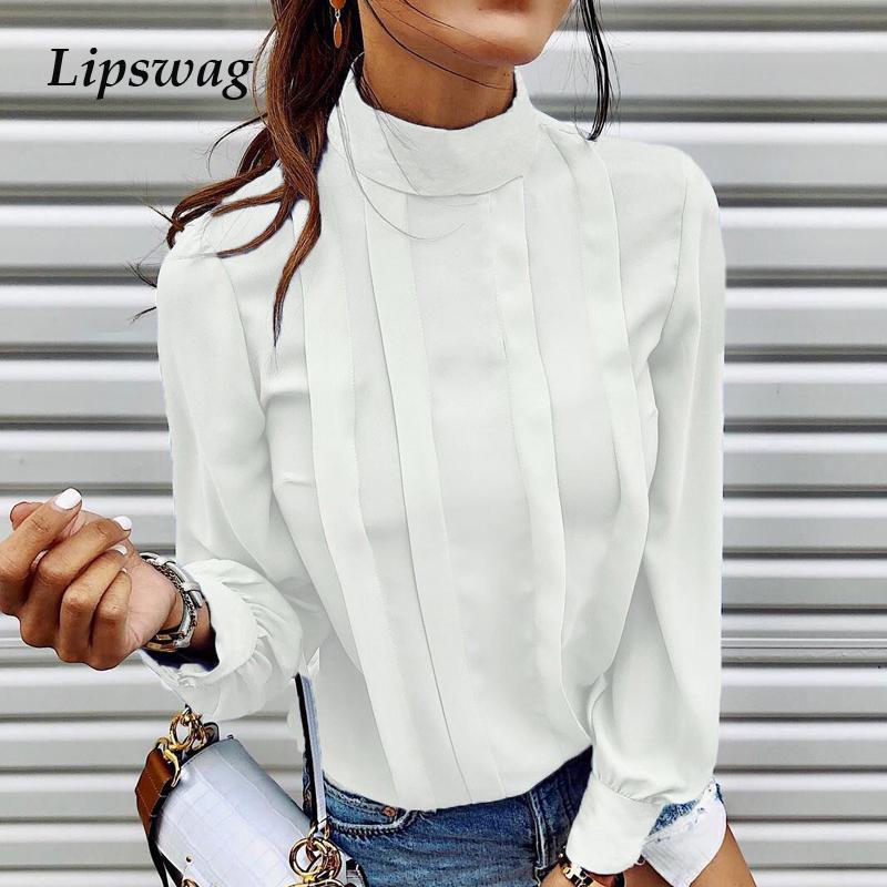 Lipswag otoño Botón del color sólido de la blusa de las mujeres camisas 2020 Sexy O-cuello de manga larga Blusa Tops elegante trabajo de oficina Blusas Mujer