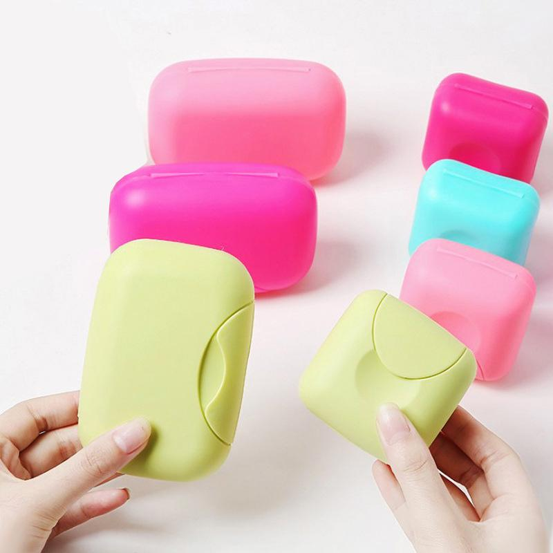 1Pcs Big Candy Color Portable Dish Box Bowl Plate Case Home Shower Travel Hiking Holder Container Soap Box