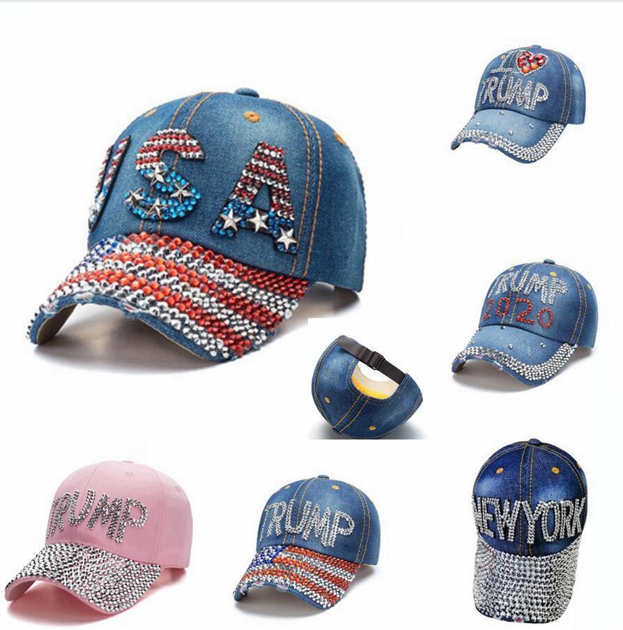 Trump Beyzbol Şapkası 2020 ABD Seçim Kampanyası Şapka Cowboy Elmas Cap Ayarlanabilir Snapback Kadınlar Kot Elmas Şapkalar DDA481