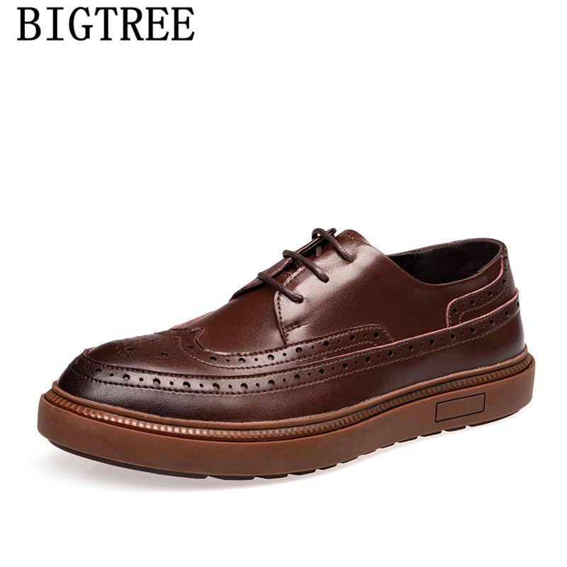 Formais sapatos casuais mens Brogue Shoes Men clássico fantasiar Brown Couro Homens Oxford Vestido Buty Meskie
