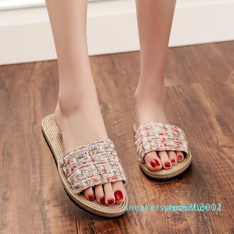 1Summer Flax Hauspantoffeln 2020 Mode Damensohlen Schuhe Indoor Outdoor Leinenschuhe öffnen Zehe-Sandalen Flache Schuhe y11