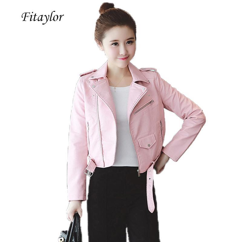 Fitaylor Printemps Automne Femmes Vestes en cuir souple Pu Faux cuir manteaux Slim court design Turn Down Col veste moto T200831