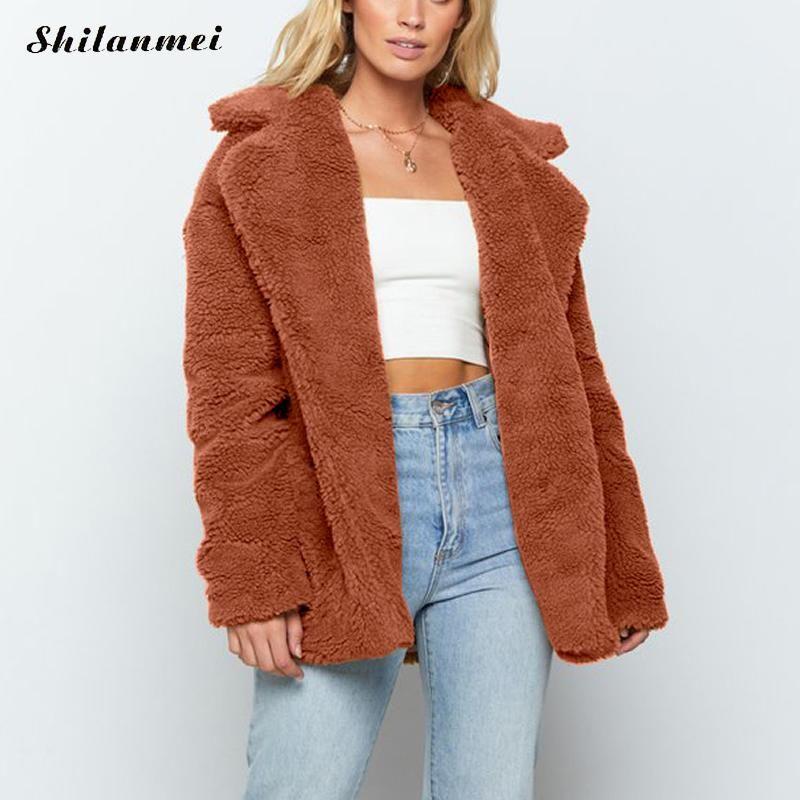 High Street Faux Fur Jacket Donna Autunno Inverno spessa giacca oversize moda pile cappotto caldo Streetwear peluche Teddy Outerwear