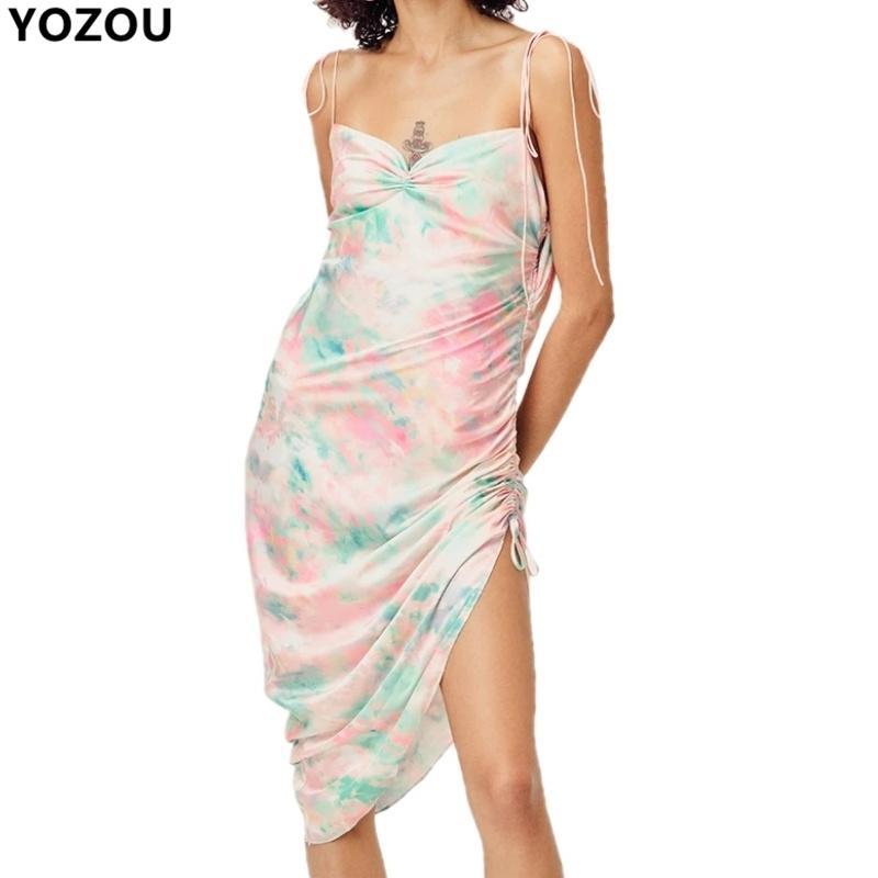 Harajuku 90S мягкой девушки конфеты цвета лето спагетти Tie-краситель шнурок мини-платье пляж платья партии каваей краткости