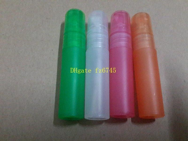 Envío libre 9 colores 5ml botella de plástico translucidez del atomizador del recorrido del perfume maquillaje aspersión recargables botellas, 1000pcs / lot # YEoQ