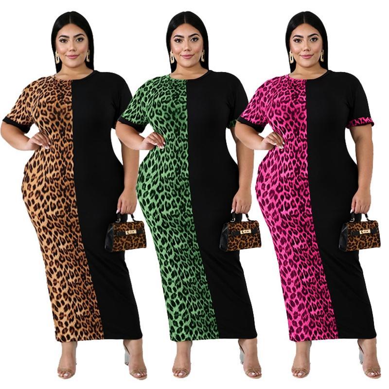 النساء أزياء ليوبارد ثوب جديد أنيق الهيئة غير الرسمية فستان ماكسي لونغ مثير نادي الحزب فساتين Vestidos زائد الحجم