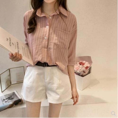 sRwa8 2020 Весна и осень женской одежды Корейский новый стиль свободный большой размер BF свежей рубашки с длинным рукавом Все матча случайные полосатые рубашки