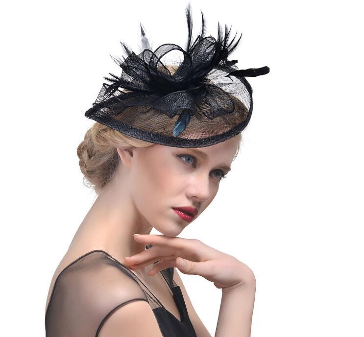 Nueva Fascinator Accesorios para el cabello elegante cóctel Headwear de la manera Fantasía perlas de plumas pernos de pelo de las pinzas de pelo del partido forgirls GB624