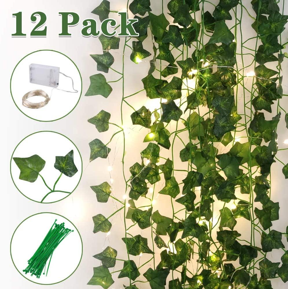 100 LED String Light with12 Pack Artificial Ivy Leaf Plants Vine Hanging Garland for Wedding Home Garden Office Wall Decor