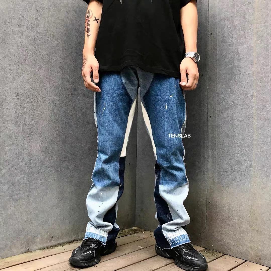 Erkek Jeans Galeri Bölümü Remake Retro High Street Jeans Moda Marka Klasik Kot Pantolon İnce Flare