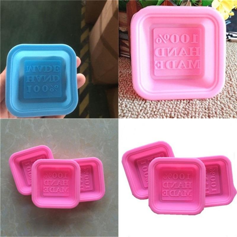 100% Handarbeit Moulds Platz Silikon-Seifen-Form Diy Eis-Würfel-Form Kuchen-Biskuit-Backen-Werkzeuge Küchenzubehör 0 65xg E2