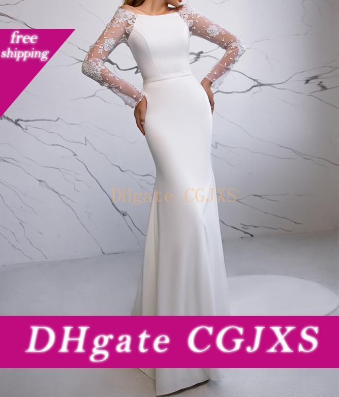 Da abiti Sposa Sirena sirène manches longues robes de mariage avec la clé -Hole -Retour robe de mariage mariée robe de cérémonie