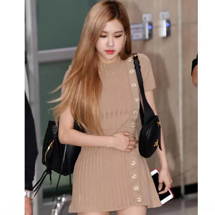 j40Fu koreanischen black-Knopf-Kleider Hülse Caiying Pullover gleiche Rose Kleid gestrickt Knopf kurz Po schlank Temperament Frauen
