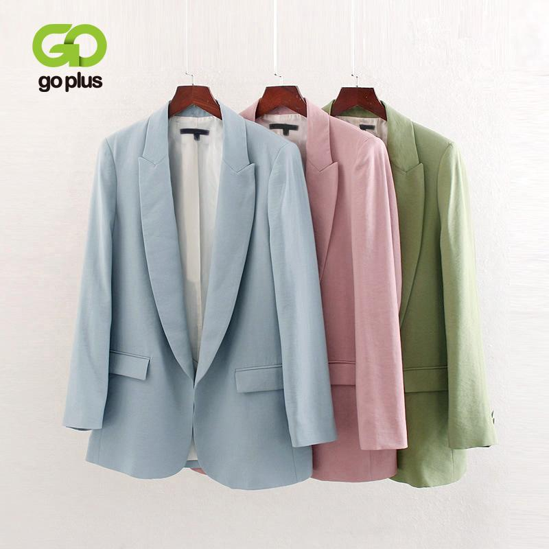 Jacket Plus Size do GOPLUS Mulheres Azul Verde Rosa Blazer Feminino Office Lady Blazers Womens Roupa Veste Femme Chaqueta Mujer T200817