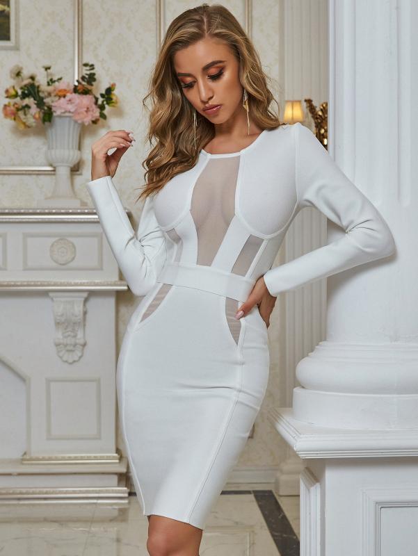 2020 neue Ankunfts-Winter-Frauen-reizvolle Designer Spitze-Ineinander greifen weiße Verband-Kleid Dame-elegante Bodycon-Partei-Kleid Vestido