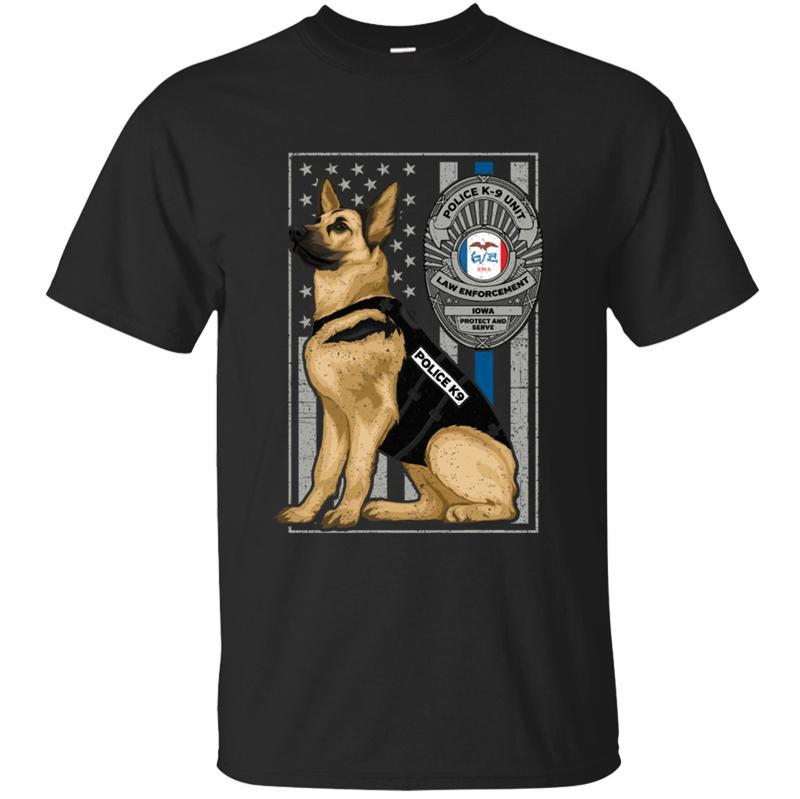 100% Baumwolle Humor Einheit K9 Flagge Iowa Exemplar T-Shirt Graphic Muster-Männer-T-Shirt-runde Kragen-Hiphop-Kleidung