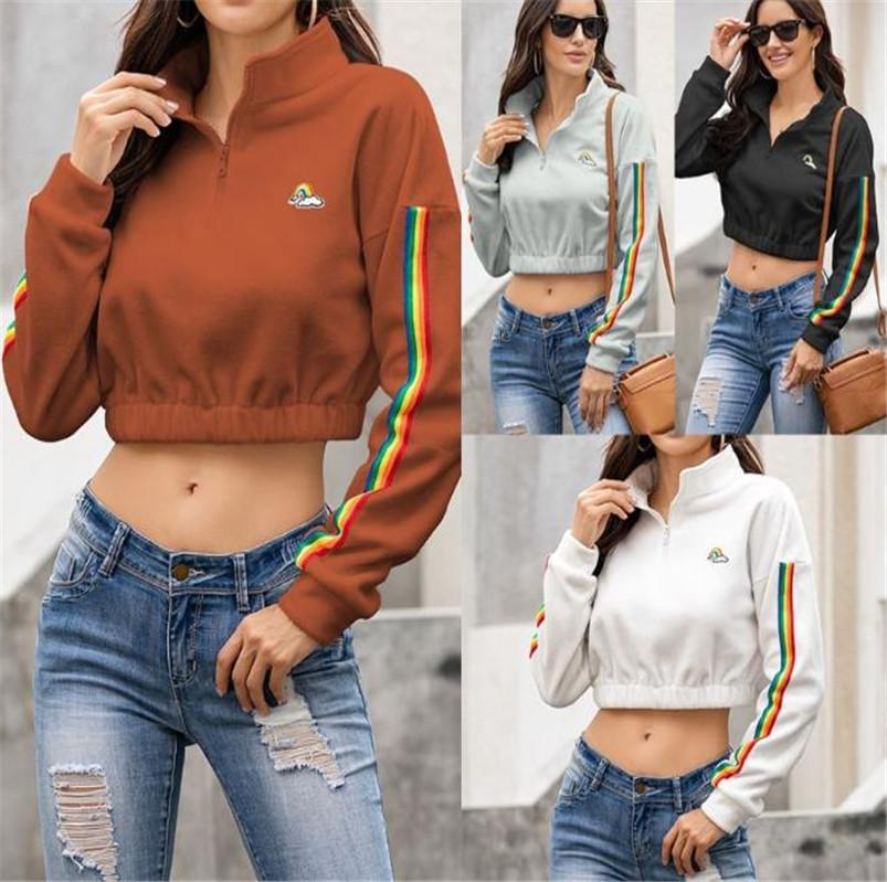 Frauen Hoodies Sweatshirts Crop Tops Designer Herbst Winter-Wolle-Patchwork Pullover Plüsch mit Kapuze und Reißverschluss Hals Bluse Pullover Kleidung LY825