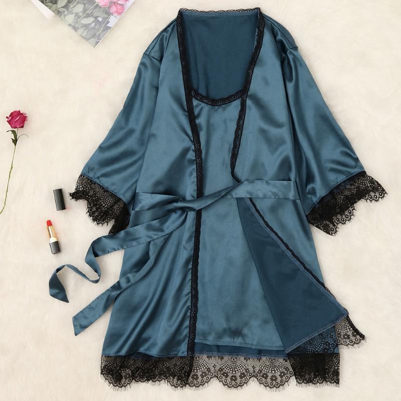 Otoño mujeres camisón Conjuntos 2 Piezas Camisón Albornoz Con el cojín del pecho femenino satinado vestido de la ropa de noche del kimono Baño Batas Traje