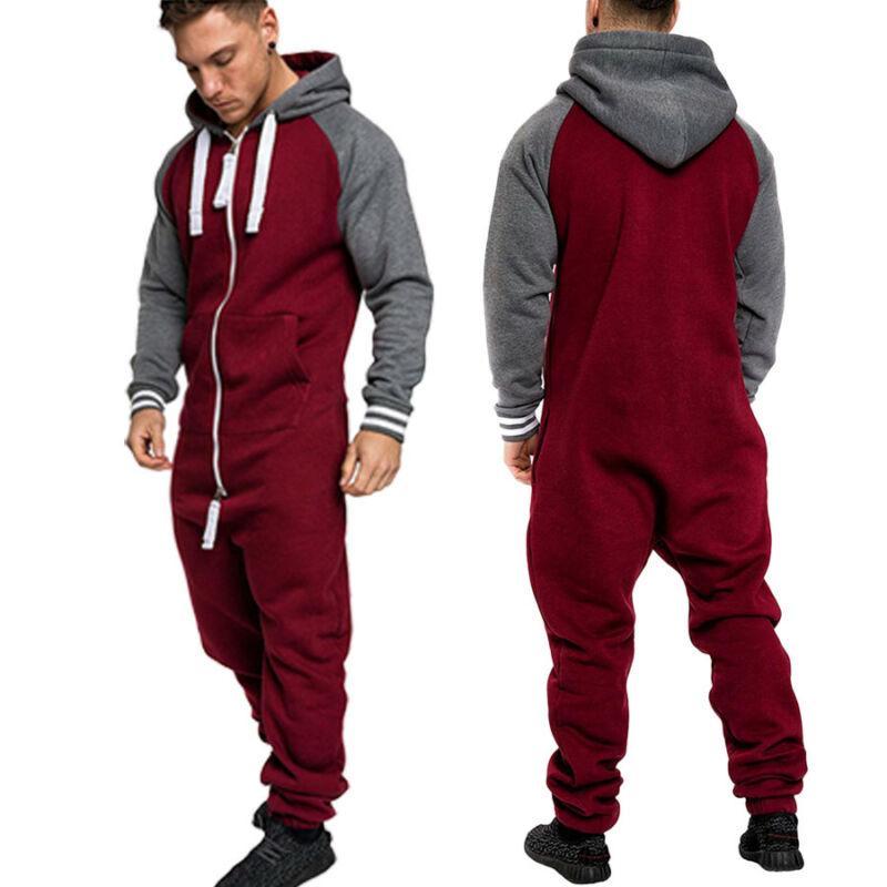 hombres mono otoño largo atractivo Playsuit de manga larga de una sola pieza prenda de patas pijama no establece capucha piel caliente sudadera