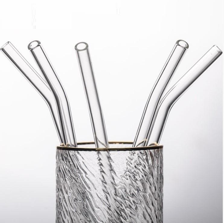 Riutilizzabili in vetro Cannucce 8 * 200mm Cancella Cannuccia Bent retta di vetro paglia ecologica di vetro di cocktail Tubularis Bere Strumento