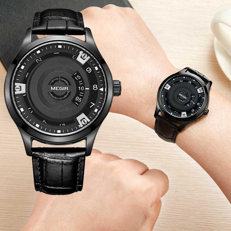 Relógio de pulso Moda Couro Strap Mens impermeável relógio masculino relogio criativas nenhum ponteiro Homens Relógios dos homens negros de Luxo
