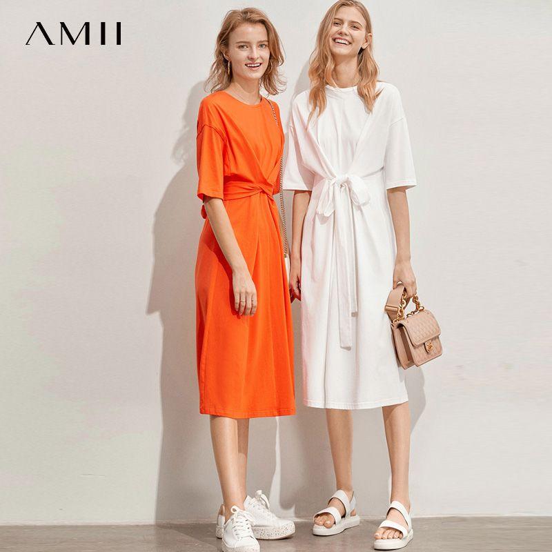 Amii minimalista vestido de las mujeres de primavera y verano causal sólido de manga corta de la correa atan para arriba O Cuello de algodón de cintura alta vestido elegante 11960107