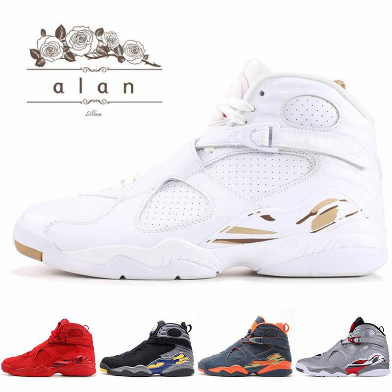 8 8s infrarrojos reflectante Baloncesto zapatos mejores hombres Olímpico Oreo Deporte Azul DMP enojado toro blanco zapatos deportivos