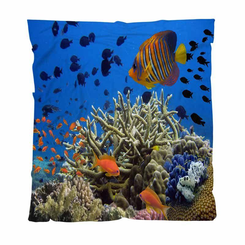 Corallo della coperta del tiro morbido eccellente Coperte Coral Reef Panorama subacqueo con la scuola di coperta Bambino adulti aria condizionata Quilt