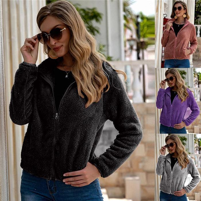 Femmes en peluche laine Tout match Vestes Automne Hiver Couleur unie col montant Manteaux courts Loose Women Pocket Outerwears