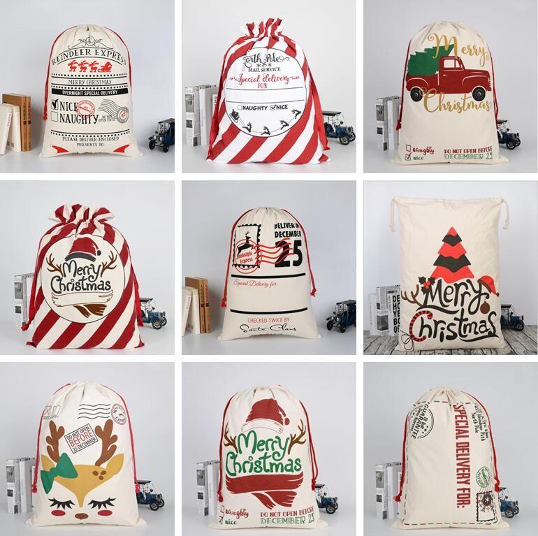 크리스마스 자루 가방 크리스마스 캔버스 졸라 매는 끈 가방 크리스마스 클로스 선물 순록 산타 자루 장식 크리스마스 파티 데코 스토리지 가방의 LSK706