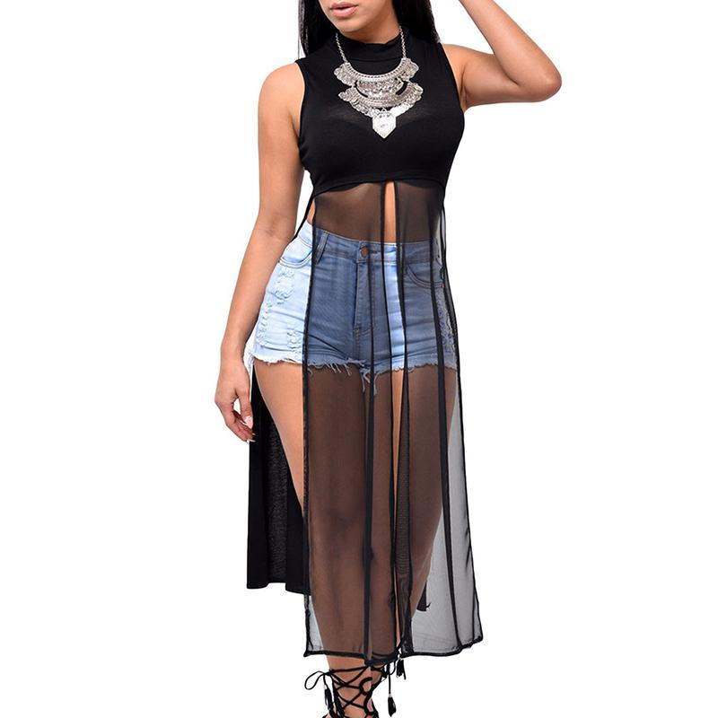 Casual Dress der Sommer-neuen Frauen lange elegante Partei dünne Sleeveless Strand-Kleid für Frau O-Ansatz Mesh-Split-Kleid Schwarz