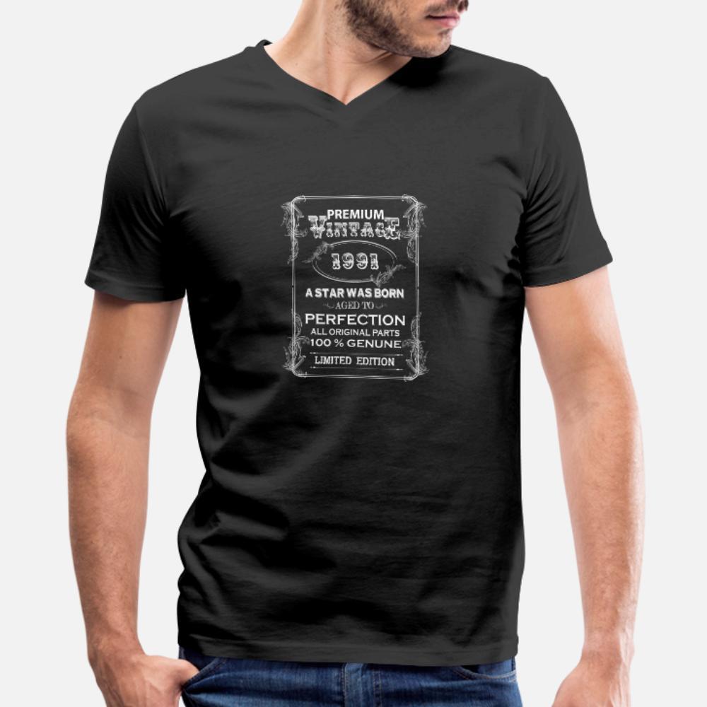 Премиум Vintage 1991 тенниски мужчин Дизайн с коротким рукавом вокруг шеи мужской Известной аутентичной Summer Style Pattern рубашки