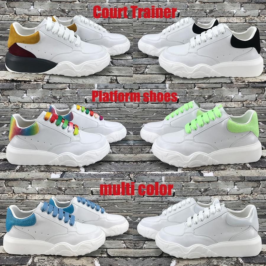 NEW Best quality court trainer platform casual shoes multi color white black orange green red blue glow in the dark men women sneakers