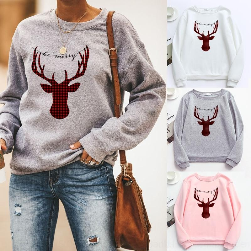 mq6MZ V1Gou 2020 Christmas women's elk sweater Plaid pullover pattern sleeve round neck long printed pullover sweater
