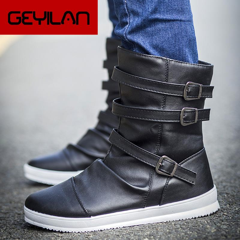 New Spring Autumn Men height increase ankle boots male fashion leather dress shoes Buckle high tops Leather Boots High heels