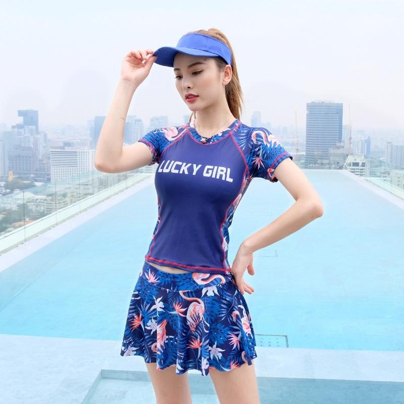 AmOCj Frauen Split sexy Badeanzug Sport abnehmen konservative 2019 neue koreanische ins lange Ärmel bedecken heißen Quellen Bauch Liwmv Badeanzug