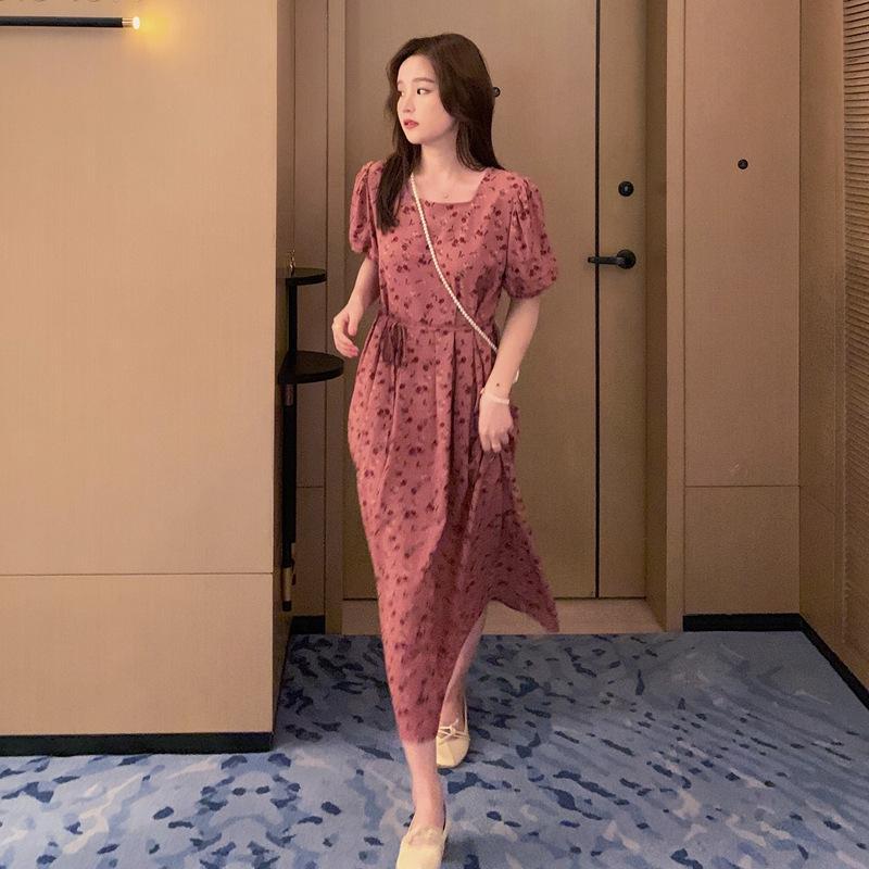YiiFt 2020 nueva manga floja dulce Wick vestido de flores vestido de estilo fino de pana de Corea burbuja con cordones de las mujeres