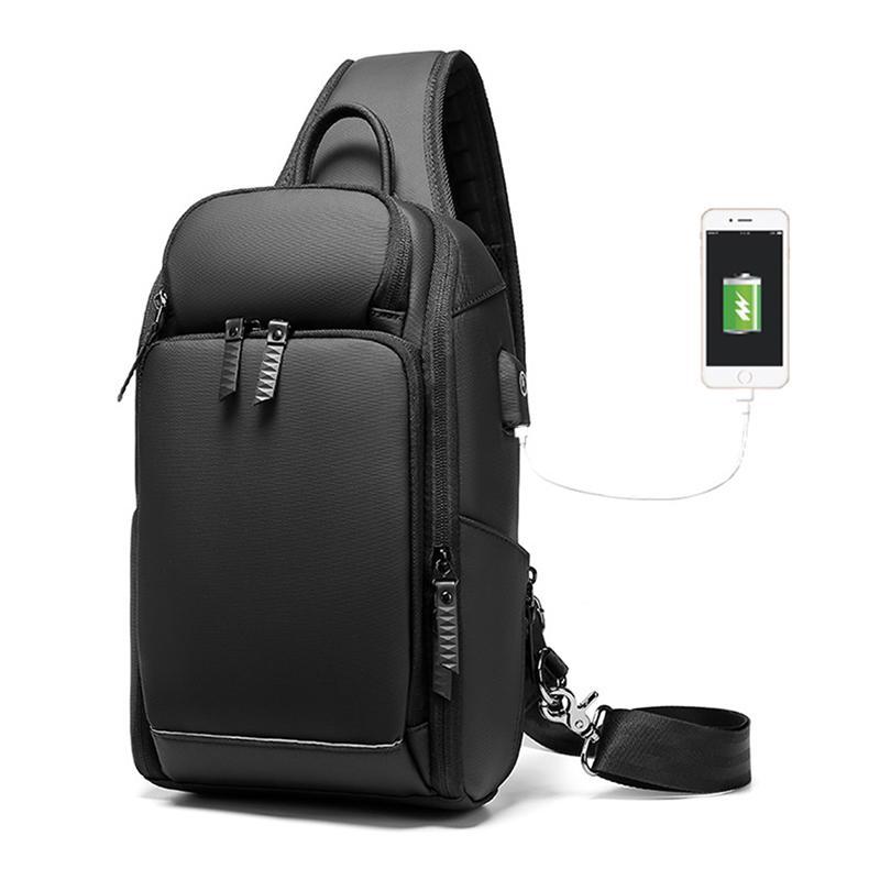 Multifunzione Mens Borsa a tracolla antifurto Borse Crossbody per gli uomini porta USB Shoulder Bag Messenger Maschio impermeabile Short Trip