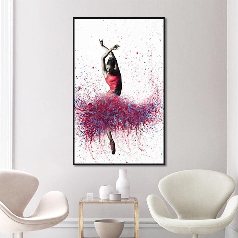 Nórdico minimalista bailarina Cisne decoración del arte Pintura Hogar sala de estar Fondo cuadro de Pared colgante sin marco