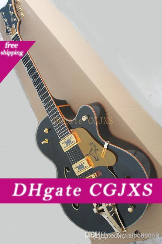 Schwarze E-Gitarre mit Gold-Schutz, Ebenholz Griffbrett, Vibrato-System, Gold Hardware, Präzision Produktion, Qualität, Customized Serv