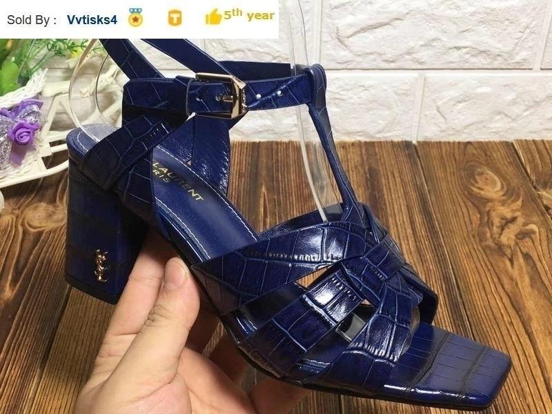 Dark Navy echtes Leder Quadrat hohe Absätze der einzelnen Schuhe der Frauen-Absatz Pantoffel Mules Slides-Pumpen-Schuhe SNEAKERS Kleid