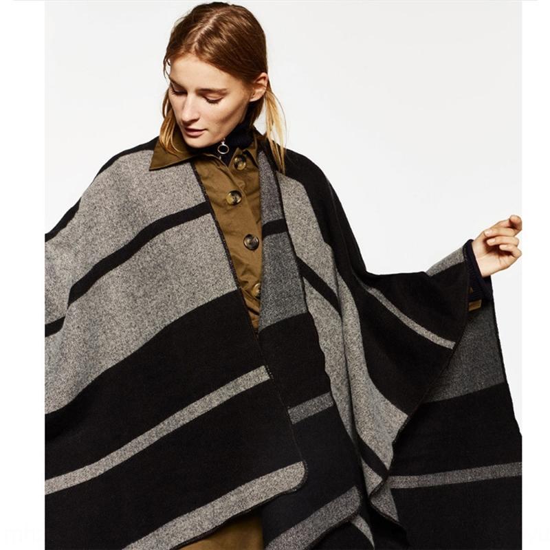 mqfgE осень и зима новый сингл черные и серые горизонтальные полосы Теплый платок шить раскол большой платок свободно теплый утолщенной двойного назначения