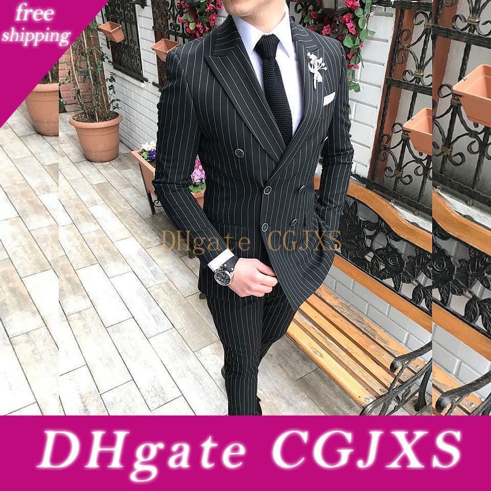Çift Breasted Çizgili Damat smokin Siyah Yaka Erkek Suits Peaked Blazer En İyi Erkek Ofisi Giyim Örgün Düğün Ceket (Ceket Pantolon)