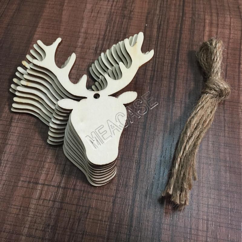 2020 Деревянные рождественские украшения Crafts Снеговик Рождественский чулок Elk Angel Wood Chip Главная украшения рождественской елки Малый кулон D83104