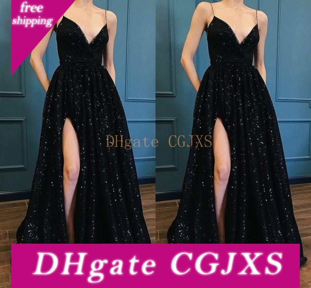 Sexy paillettes nere Prom Dresses spalline lungo degli abiti di sera Mopping lungo sezione alta della coscia Slits Abiti una linea speciale