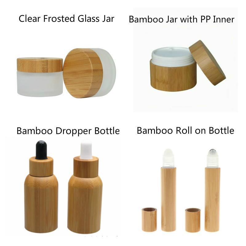 Cosmetici 50pcs 50ml bambù flacone contagocce 50g smerigliato chiaro vaso di vetro vaso 50g bambù con 15ml pp interno rotolo di profumo su bottiglie