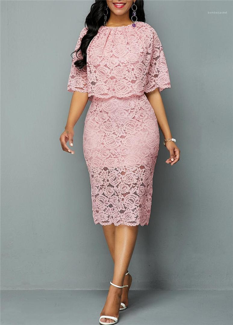 Robes Doux évider Couleur Solid Slim manches moitié Crew Neck Robes Femmes Mode Robes Femmes Dentelle Designer